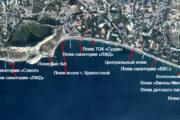 Пляжи Судака на карте